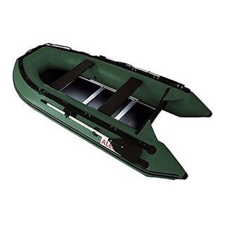 ALEKO 10.5 ft Inflatable Fishing Raft 4 Person Boat with Wood Deck Color Options - 10.5 ft (Green)