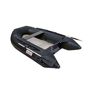 ALEKO 8.4 ft Inflatable Raft Fishing 3 Person Boat with Air Floor Deck Color Options - 8.4 ft (Black)